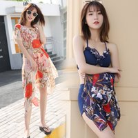 Bikini Three Piece Split Swimsuit Set of South Korea Spring Small Fragrance Cover Belly Beach Chest Gathered Sexy