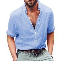 Uomini Camicie estive Manica lunga Manica Lunga Mens Abbigliamento Abbigliamento Abbigliamento Tendenze Button Up Cotton Biancheria di cotone Sciolto Casual Beach Yoga Shirt Tops Uomo