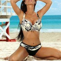 ملابس السباحة الكبيرة رفع بيكيني المرأة زائد حجم ملابس الشاطئ ارتداء البيكينيات الإناث المايوه السباحة الدعاوى 1