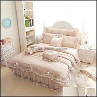 Bedding Supplies Textiles Home & Gardenbedding Sets Ruffles Lace Luxury 100% Cotton Fl Queen King Size Princess Bed Set 4 7Pcs Duvet Er+Beds