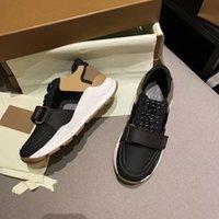 Zapatos de diseñador Vintage Cheque Sneakers Men Mujer Plataforma Sneaker Suede Cuero Trainers Black White Mesh Runner Shoe US4-11 NO281