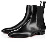 Kırmızı Sole Siyah Kahverengi Buzağı Savaş Çizmeler Üzerinde Kayma Erkekler için Düşük Topuk Tasarımcı Kırmızı Alt Ayak Bileği Patik Martin Ayakkabı Kutusu Ile