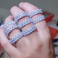 Choucong Victoria Wieck Lüks Takı 925 Ayar Gümüş El Yapımı Beyaz Topaz CZ Elmas Eternity Yüzük Kadınlar Düğün Band Yüzük ZHL2164