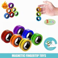 3 Pcs Fidget Spinner Funny Magnetic Bracelet Ring Unzip Toy Magic Rings Props Decompression Anti-Stress CA21