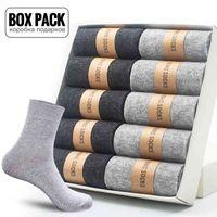 Box Pack Men's Cotton Socks 10Pairs Lot Black Business Men Socks Soft Breathable Summer Winter for Male Plus Size (39-45)