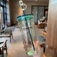 2021 Limited Edition Starbucks Mugs Classic Green Lid Double-Layered Glass Straw Cup Large Capacity