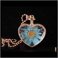 Tropfenlieferung 2021 Herzform Lampwork Glas Anhänger Aromatherapie Anhänger Halsketten Schmuck Trockene Blüten pro Fleisch Flaschenbs2955 Ukowd