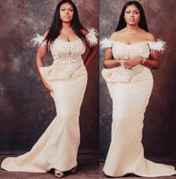 2021 Plus Size Arabic Aso Ebi Mermaid Lace Feather Prom Dresses Sweetheart Satin Sexy Evening Formal Party Second Reception Gowns Dress ZJ202