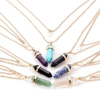 Pendant Necklaces Fashion Opal Stone Style Hexagonal Quartz For Women Natural Crystal Necklace Bohemian Statement Jewelry Gift