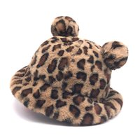 Winter Fashion Leopard Bear Ear Bucket Hat Women Thick Warm Faux Fur Fishing Caps Bob Girls Plush Soft Panama Hats