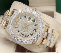 남성 시계 43mm 큰 다이아몬드 스타 로마 리터럴 손목 시계 날짜 / 주 디자인 패션 품질 스테인레스 스틸 기계적 손목 시계