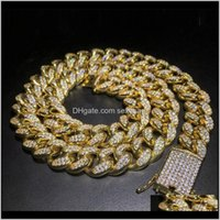 Cadeias colares pingentes jóias entrega de gota 2021 2cm fora cubano cristal miami necaklce cadeia cor ouro homens colar pulseira conjunto hip ho