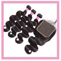 Индийские человеческие девственные волосы волосы волна 3 пучка с 6x6 кружева закрытие средние три свободных части натуральный цвет оптом 10-30 дюймов