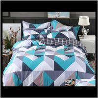 Sets Supplies Textiles Garden Drop Delivery 2021 Wholesale 100Percent Modern Geometric Bedding 4 Pcs 36S Home Sateen Cotton 200Tc Duvet Pillo