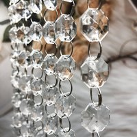 Party Decorations 66 FT Crystal Garland Strands 14mm clear Acrylic Glass octagon beads chain Wedding Centerpieces Manzanita Tree Hanging Decor