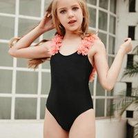 One-Pieces Toddler Kids Bathing Suit Girls One-piece Swimsuit Flowers Sling Siamese Beach Quick Dry Bikini Maillot De Bain Enfant Fille E1