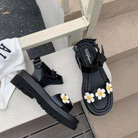 Sandals Bohemia Flower Chunky Heel Platform Women Buckle Strap Black Punk Y2K Shoes Summer Beach Goth