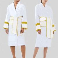 레트로 커플 목욕 가운 편지 자카드 잠옷 면화 통기성 넓은 벨트 잠옷 야외 휴가 해변 목욕 가운