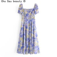 Spring Summer Vintage Boho Ink Printing Holiday Big Swing Long Skirt Square Collar Short Sleeve Ankle Dresses For Woman 210514