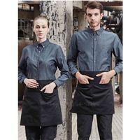 Chef Jacket for Women Men Cowboy Denim Restaurant Cooker Waiter Work Clothes Uniform Food Professional Service Shirt Coat