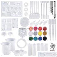 Encantos Achados Componentes JewelryCharms DIY Jóias Fundição Moldes Ferramentas Definir 255 pcs Resina Sile e com 100 ml Copos de Medição Mini Drop de