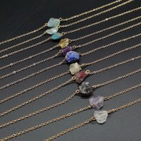 Chains Natural Stone Female Necklace Crystal Agate Pendant Seven Chakra Charm Exquisite Jewelry DIY