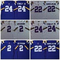 남성용 LSU 호랑이 2 Justin Jefferson 24 Derek Stingley Jr. 22 Clyde Edwards-Helaire 2020 National Championship Game Jersey White Purple Stitched