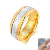 8mm Gold Tungsten Wedding Band Ring for Men Classic Fashion Jewelry Mens Accessories Gift Engagement Rings