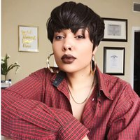 Short Pixie Cut Straight Peruvian Remy Human Hair Wigs For Black Women Full machine none lace front Wig