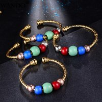 Wando 4pcs Baby Bangles Girls Lovely Gold Color Charm Beads Bracelet Three-color Round For Children Jewelry Bangle