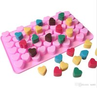 Wholesale Moulds 55 Holes Bake Cake Mold 1.5 Mini Heart Silicone Chocolate Fondant Jelly Cookie Muffin Ice Flexible Cupcake