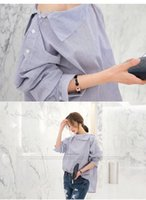 Women's Blouses & Shirts Summer 2021 Fashion Temperament Simple Sexy Cross-Neck Off-Shoulder Loose Striped Long-Sleeved Shirt For Women