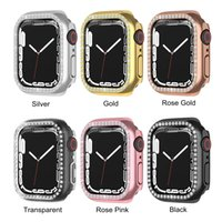 Women Ladies Cases for Apple Watch 7 Series Case Cover PC One Row Diamond Protector Bumper Fit iWatch 41mm 45mm Accessories