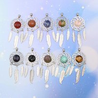 5pcs Mixed Dream Catcher Stone Pendant Silver Plated Natural Gemstone Pendants for Necklace Women Jewelry Gifts