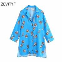 ZEVITY Englan Stil Kadınlar Vintage Turn Down Yaka Kuşlar Baskı Uzun Tahmin Bluz Gömlek Kadınlar Chic Kimono Femininas Tops LS7074 201201