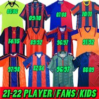 바르셀로나 레트로 축구 유니폼 호나우두 stoichkov Ronaldinho 91 92 95 96 97 05 06 10 11 100 Rivaldo Guardoliesta Messi Xani Old Calsical Shirt Football 1899 1999