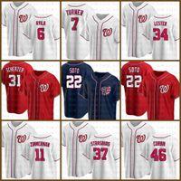 22 Juan Soto Ashington Custom Nationals Jersey de béisbol Max Scherzer Turne Turner Anthony Rendon Bryce Stephen Strasburg Harper Corbin Beoge