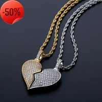 Coeur brisé Double bouton Double bouton Couple Pendentif hip hop plein de collier solide