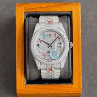 Full Diamond Mens Watch Automatic Mechanical Watches 41mm With Diamond-studded Steel Women Wristwatch Bracelet Montre de Luxe High Quality