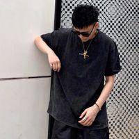 Bayan Erkek Fashiong T Shirt Tasarımcı Erkekler Yüksek Kalite Alexander Gömlek Tshirt Wang Sıkıntılı Kısa Kollu