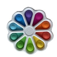 Gökkuşağı Çiçek Popper Tahtası Duyusal Fidget Oyuncaklar Kabarcık Poppers Numarası Mektuplar Baskı Ayçiçeği İtme Squishes Bulmaca Parmak Eğlenceli Oyun Silikon Topları H486NNN