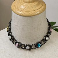 Earrings & Necklace Brand C Fashion Jewelry Women Vintage Thick Chain Set Pearls Black Leather Belt Party Fine