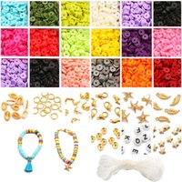 Andere flache Runde Polymer Clay Spacer Perlen Kit Charms Elastische String Hummer Schließe Kiste für Schmuckherstellung DIY Armbänder Ohrring Set
