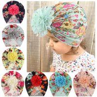 Caps Hats Цветочные завязанные младенца малыш дети девушка печатает шляпу шансов головные уборы
