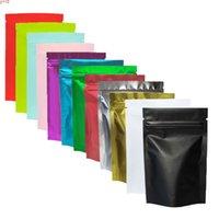 متعدد الحجم أسود / الذهب / الأخضر / الوردي / الفضة تخزين ziplock gusset حقيبة الحرارة ختم المعدنية mylar البريدي قفل أكياس الوقوف 100pcsgoods