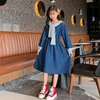 Girl's Dresses Children Denim Clothing Autumn 2021 Jeans Dress For Big Girls Patchwork Long Sleeve Sailor Collar Princess Kids