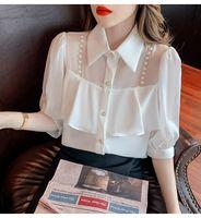 2021 تصميم الأزياء النسائية الجديدة رفض طوق الديكور سلاسل المرقعة نفخة نصف كم الشيفون بلوزة قميص زائد الحجم قمم SMLXL