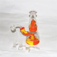 7.5'' Water Pipe Dab rig Silicone bong portable hookah unbreakable silicon and glass smoking pipes style Via DHL