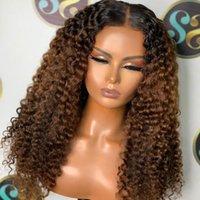 Parrucche di pizzo Afro Kinky ricci ricci 200 densità capelli umani anteriore t parte ombre remy