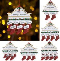 Resin Personalized Stocking Socks Family Of 2 3 4 5 6 7 8 Christmas Tree Ornament Creative Decorations Pendants DH8576